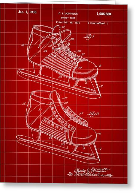 Antique Skates Greeting Cards - Hockey Shoe Patent 1934 - Red Greeting Card by Stephen Younts