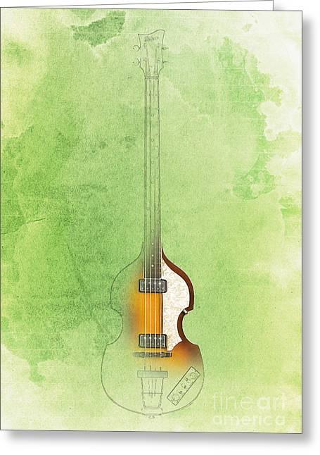 Hofner Greeting Cards - Hofner Bass - Paul McCartney Bass Greeting Card by Pablo Franchi