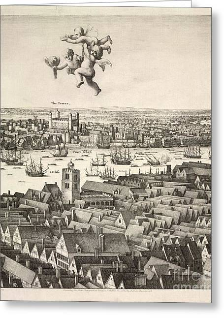 Label Greeting Cards - Hollars Panorama Of London, 1647 Greeting Card by British Library