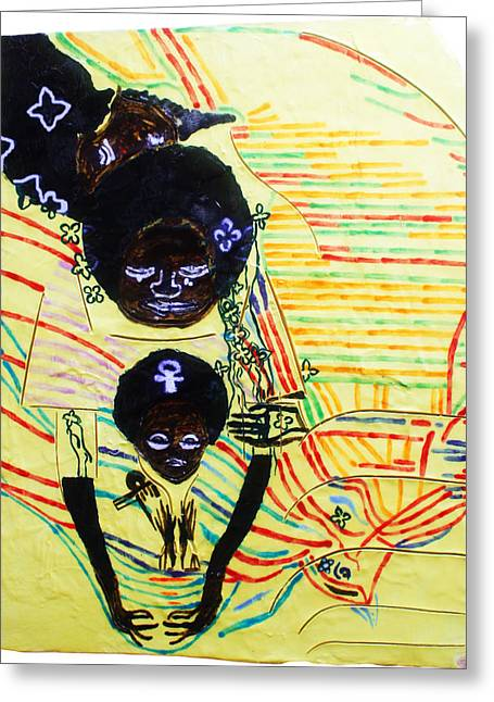 Ugandan Ceramicist Ceramics Greeting Cards - Holy Family Greeting Card by Gloria Ssali