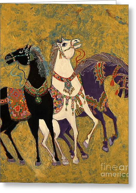 Hooved Mammal Greeting Cards - 3 Horses Greeting Card by Laila Shawa