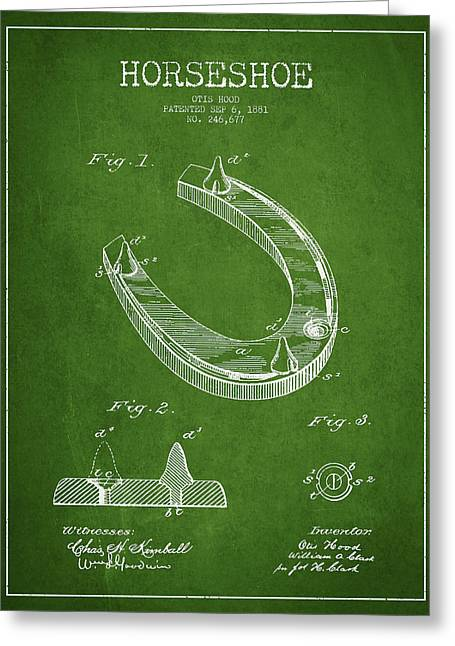 Horseshoe Greeting Cards - Horseshoe Patent Drawing from 1881 Greeting Card by Aged Pixel