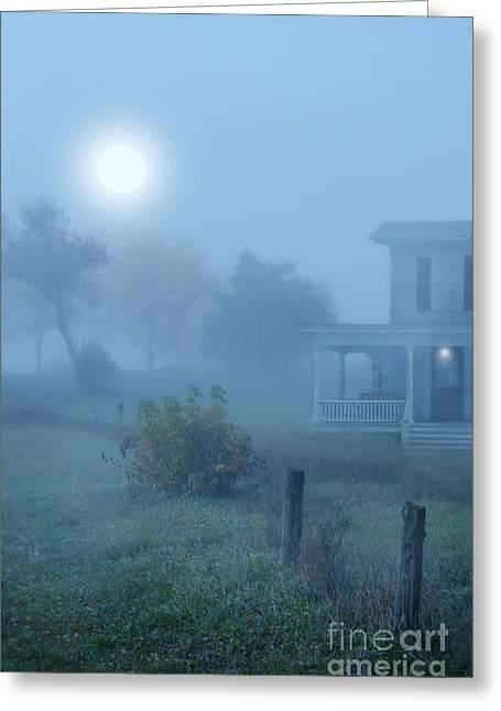 Moonlit Night Greeting Cards - House in Fog Greeting Card by Jill Battaglia