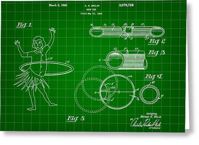 Hula Hoop Greeting Cards - Hula Hoop Patent 1959 - Green Greeting Card by Stephen Younts
