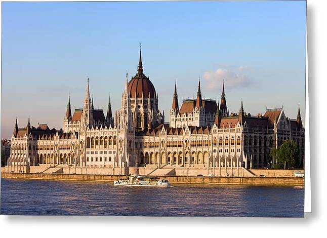 Neogothic Greeting Cards - Hungarian Parliament Building in Budapest Greeting Card by Artur Bogacki