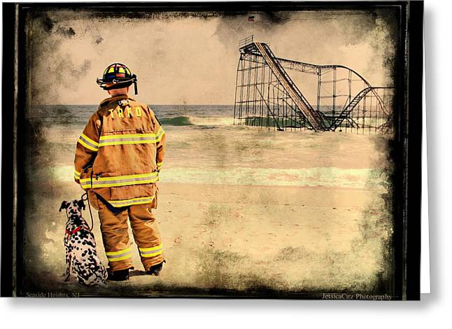 Jetstar Greeting Cards - Hurricane Sandy Fireman Greeting Card by Jessica Cirz