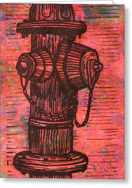 Lino Print Greeting Cards - Hydrant Greeting Card by William Cauthern