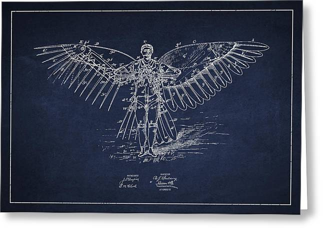 Right Wing Greeting Cards - Icarus Flying machine Patent Drawing Front View Greeting Card by Aged Pixel