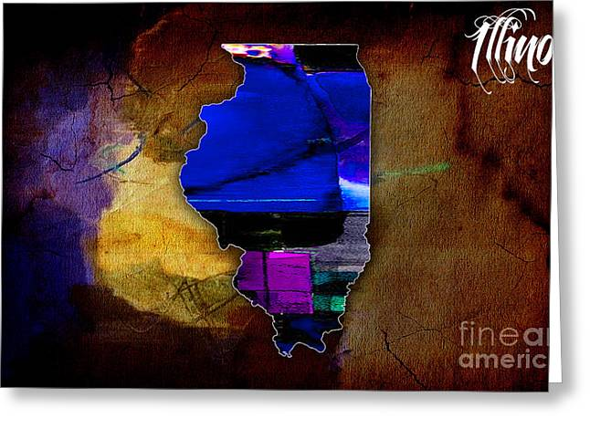 Illinois Greeting Cards - Illinois Map Watercolor Greeting Card by Marvin Blaine