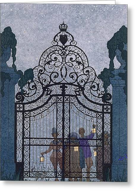 Haunted House Paintings Greeting Cards - Illustration for Fetes Galantes  Greeting Card by Georges Barbier
