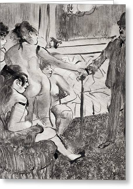 Clients Greeting Cards - Illustration from La Maison Tellier by Guy de Maupassant Greeting Card by Edgar Degas