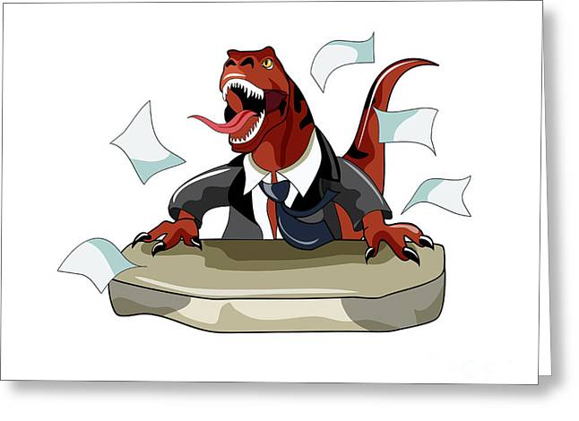 Office Space Digital Greeting Cards - Illustration Of A Tyrannosaurus Rex Greeting Card by Stocktrek Images
