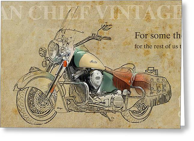 Green And Yellow Mixed Media Greeting Cards - Indian Chief Vintage 2012 Greeting Card by Pablo Franchi