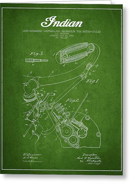 Chopper Greeting Cards - Indian motorcycle Patent From 1904 - Green Greeting Card by Aged Pixel
