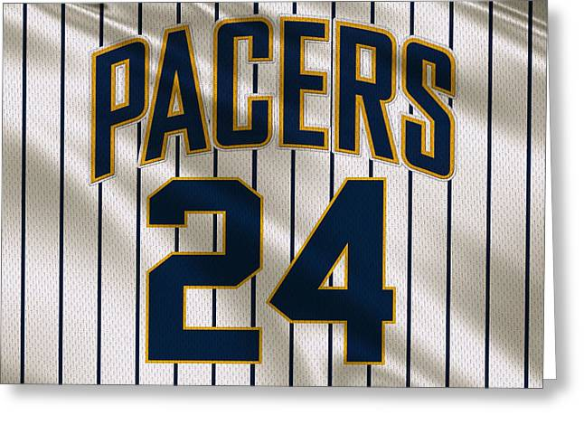 Basket Ball Greeting Cards - Indiana Pacers Uniform Greeting Card by Joe Hamilton