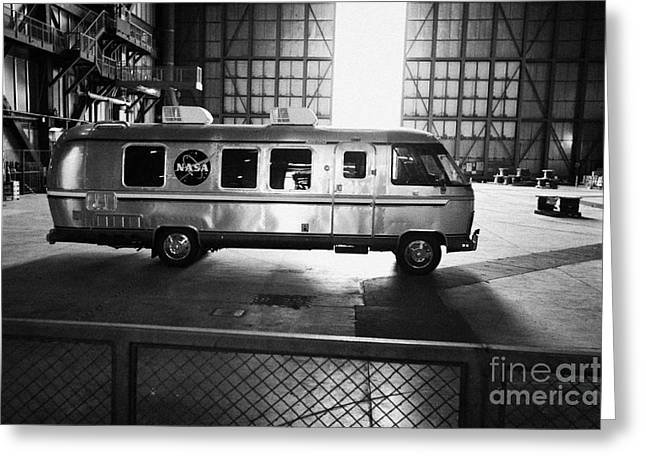 Kennedy Space Center Greeting Cards - interior of the vehicle assembly building bay with nasa astrovan at the Kennedy Space Center Florida Greeting Card by Joe Fox