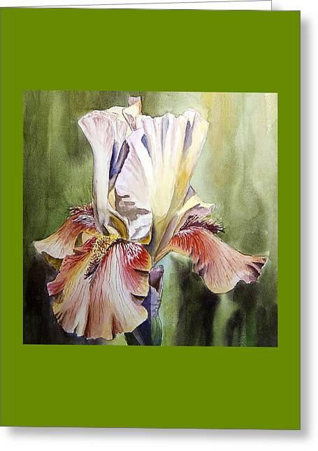 Iris Painting Greeting Card by Irina Sztukowski
