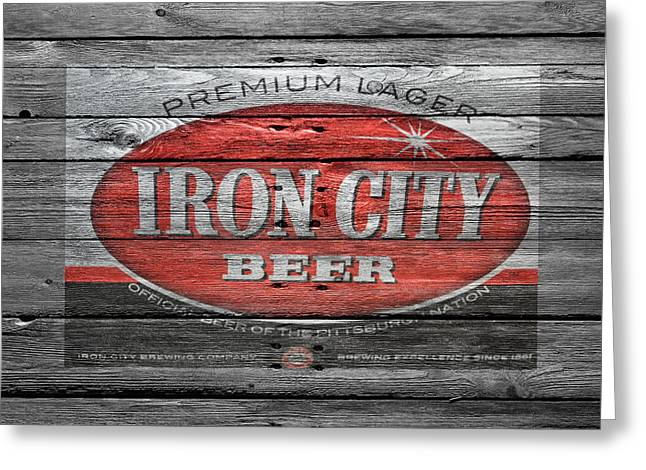 Iron Greeting Cards - Iron City Beer Greeting Card by Joe Hamilton