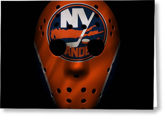 Skates Greeting Cards - Islanders Jersey Mask Greeting Card by Joe Hamilton