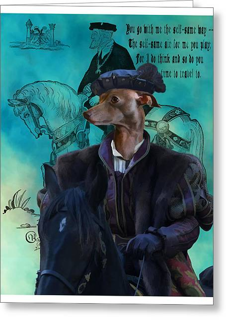 Greyhound Dog Greeting Cards - Italian Greyhound Art Canvas Print Greeting Card by Sandra Sij