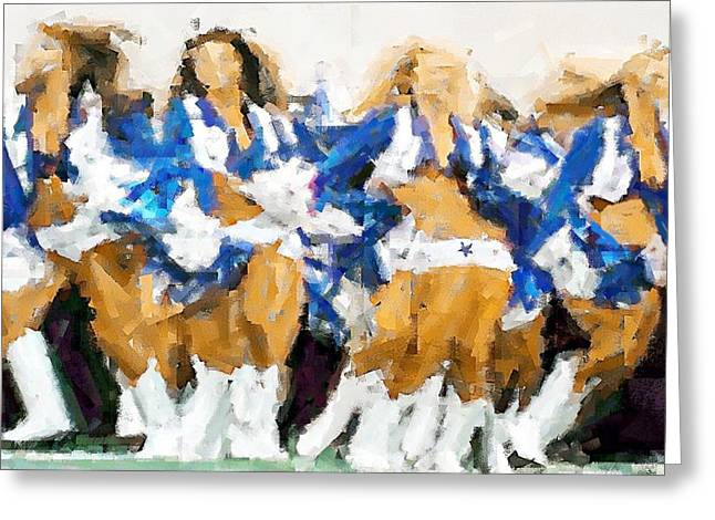 Cowboys Cheerleaders Greeting Cards - Its Showtime Greeting Card by Carrie OBrien Sibley