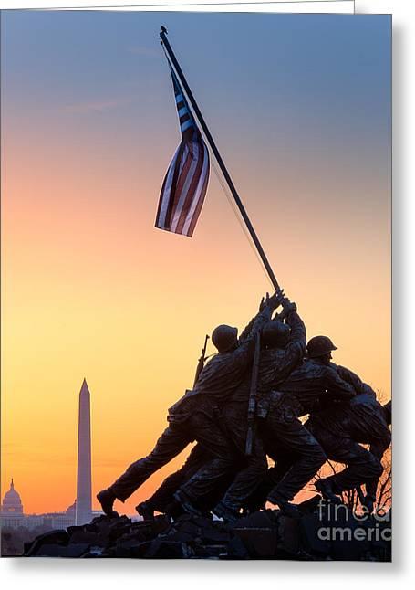 Flag Of Usa Greeting Cards - Iwo Jima Greeting Card by Inge Johnsson