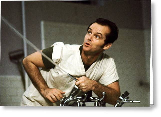 Nicholson Greeting Cards - Jack Nicholson in One Flew Over the Cuckoos Nest  Greeting Card by Silver Screen