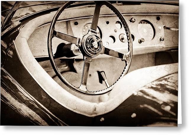 Jaguars Greeting Cards - Jaguar Steering Wheel Greeting Card by Jill Reger
