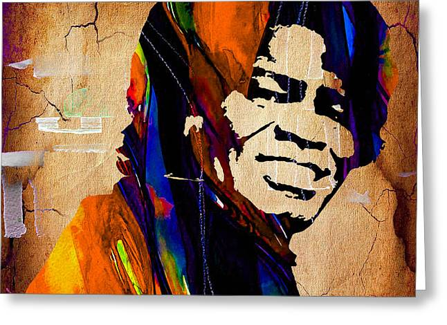 Pop Singer Greeting Cards - James Brown Collection Greeting Card by Marvin Blaine