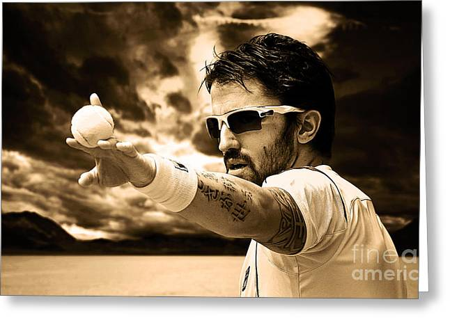 Forehand Greeting Cards - Janko Tipsarevic Greeting Card by Milan Karadzic