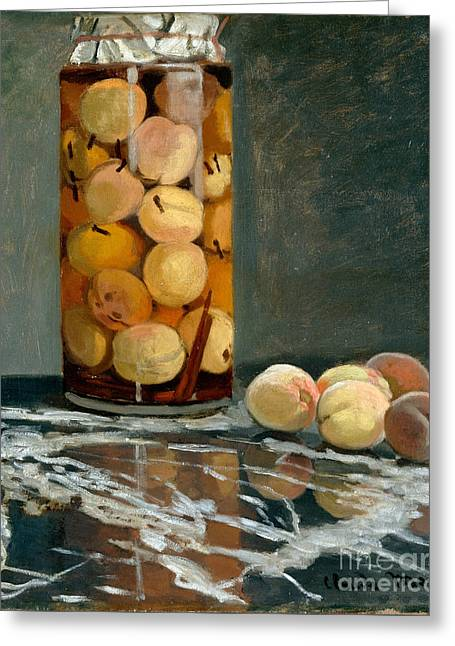 Vintage Painter Greeting Cards - Jar of Peaches Greeting Card by Claude Monet