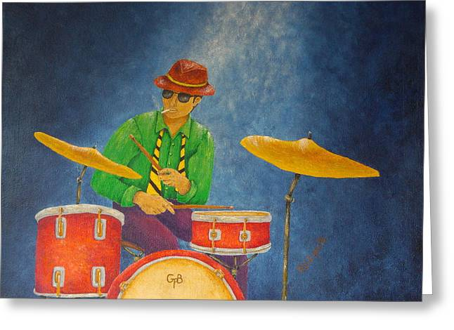 Golds Reds And Greens Greeting Cards - Jazz Drummer Greeting Card by Pamela Allegretto