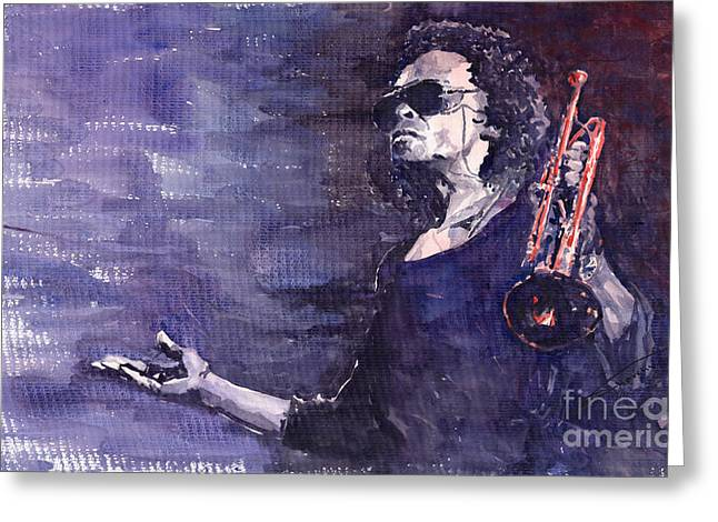 Trumpeters Greeting Cards - Jazz Miles Davis Greeting Card by Yuriy  Shevchuk