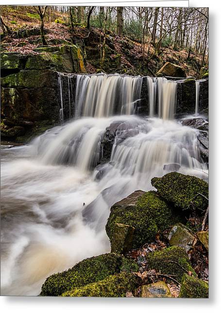 Flowing Greeting Cards - Jepsons Clough Waterfall. Greeting Card by Daniel Kay