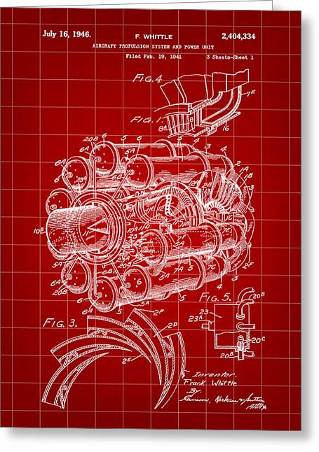 Turbojet Greeting Cards - Jet Engine Patent 1941 - Red Greeting Card by Stephen Younts