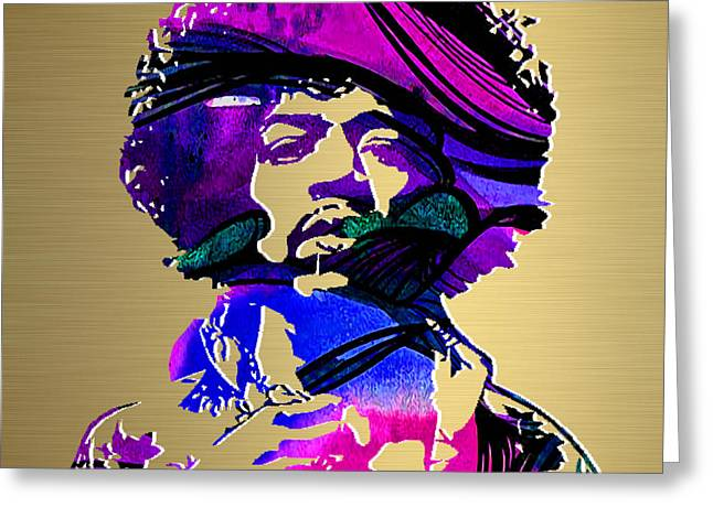 Jimi Hendrix Gold Series Greeting Card by Marvin Blaine