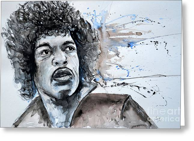 Gruenwald Greeting Cards - Jimi Hendrix  Greeting Card by Ismeta Gruenwald