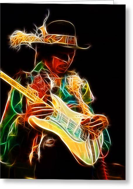 Celebrtiy Portraits Greeting Cards - Jimi Hendrix Greeting Card by Michael Braham
