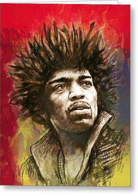 Most Greeting Cards - Jimi Hendrix stylised pop art drawing potrait poster Greeting Card by Kim Wang