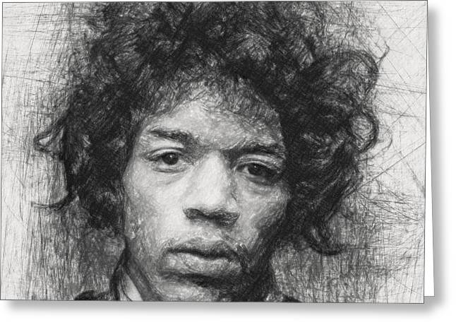 Jimi Hendrix Drawings Greeting Cards - Jimi Hendrix Greeting Card by Taylan Soyturk