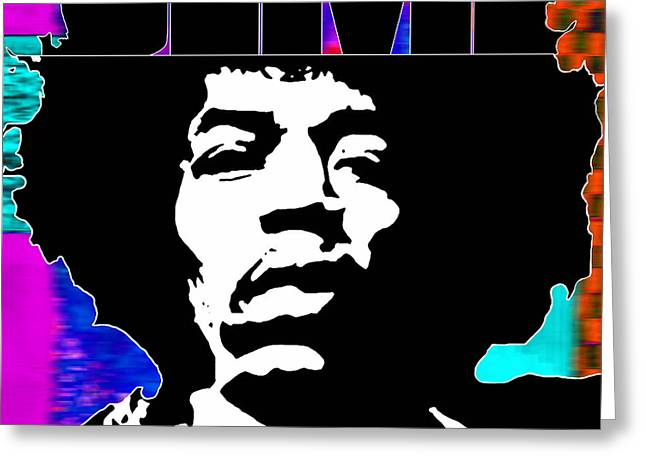 Jimi Hendrix Typography Greeting Card by Marvin Blaine