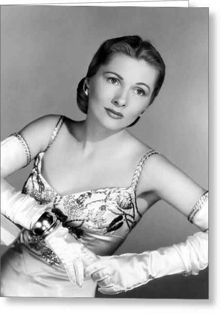 Fontaine Greeting Cards - Joan Fontaine Greeting Card by Silver Screen