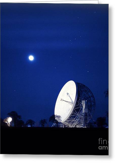 Moonlit Night Greeting Cards - Jodrell Bank Observatory Greeting Card by Richard Kail
