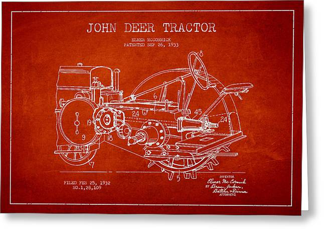 Old Tractors Greeting Cards - John Deer Tractor Patent drawing from 1933 Greeting Card by Aged Pixel