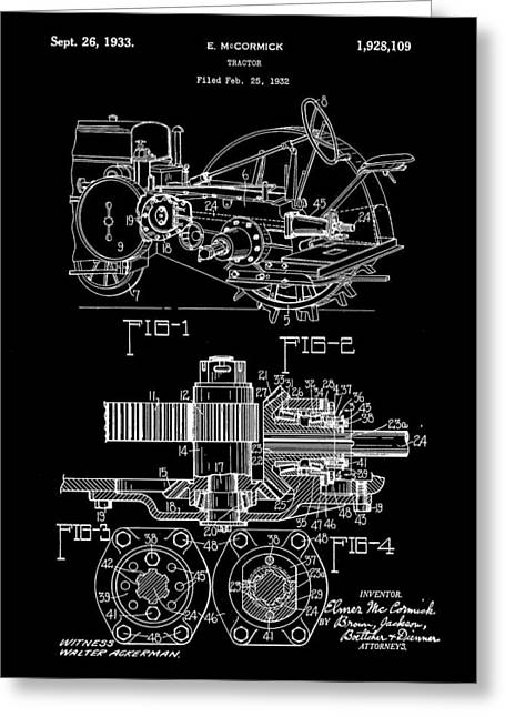 Harrow Greeting Cards - John Deere Tractor Patent 1932 - Black Greeting Card by Stephen Younts