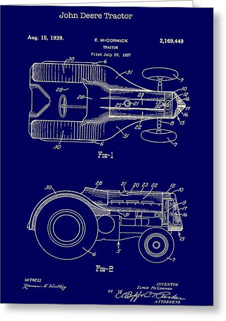 John Deere Tractor Patent 1939 Greeting Card by Mountain Dreams