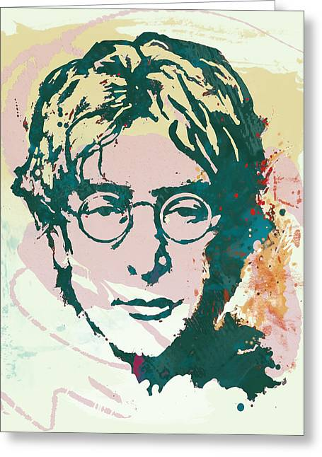 Popular Music Greeting Cards - John Lennon pop art sketch poster Greeting Card by Kim Wang