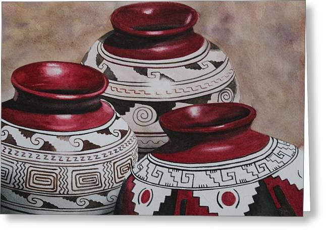 Realism Ceramics Greeting Cards - 3 Jugs Greeting Card by Stacy Crane