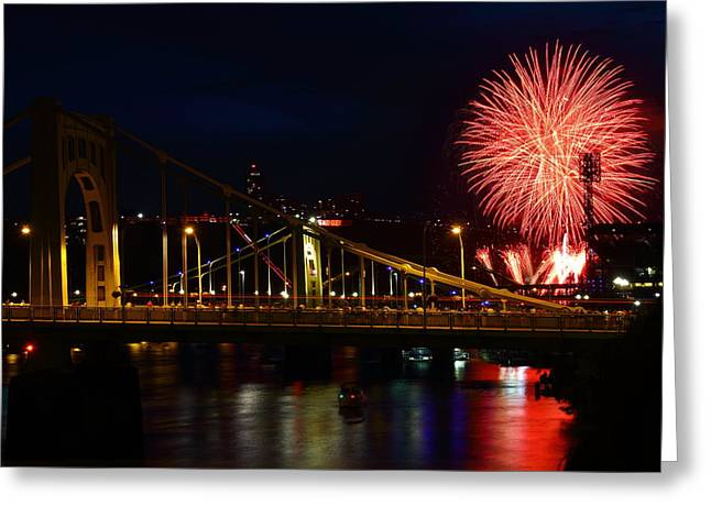 Roberto Greeting Cards - July 4th Fireworks in Pittsburgh Greeting Card by Jetson Nguyen