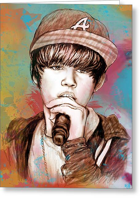 Featured Mixed Media Greeting Cards - Justin Bieber - stylised drawing art poster Greeting Card by Kim Wang